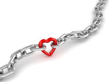 Chrome Chain Connected with Heart. This is a 3d Rendered Computer Generated Image.  on White Stock Image