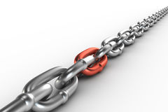 Chrome chain with a cooper link. On white background Royalty Free Stock Image