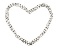 Chrome chain forming heart isolated Stock Image