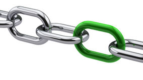 Chrome chain with a green link. On white background vector illustration
