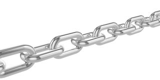 Chrome chain isolated on white background. 3d illustration Royalty Free Stock Image