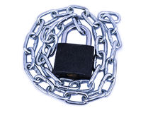Chrome chain with a lock. isolated on white background Stock Images