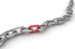 Chrome chain with one different red link. This is a 3d rendered computer generated image.  on white Stock Photos
