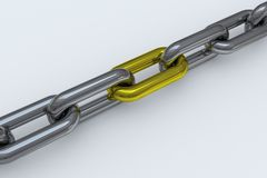 Chrome chain with one yellow link Stock Photography