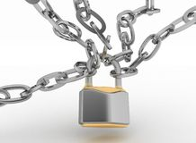 Chrome chain with a Padlock. 3d isolated on white background Stock Photos