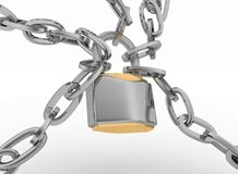 Chrome chain with a Padlock. 3d isolated on white background Royalty Free Stock Photos