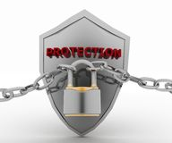Chrome chain with a Padlock and Shield Royalty Free Stock Photography