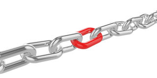 Chrome chain with a red link at the center. 3d illustration Stock Photo