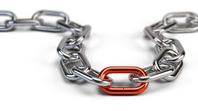 Chrome chain with a red link. 3d illustration Royalty Free Stock Image