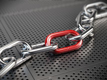 Chrome chain with a red link. 3d render Royalty Free Stock Photos