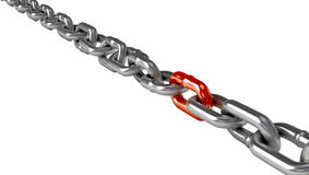 Chrome chain with a red link Stock Images