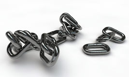 Chrome chain. On white background Royalty Free Stock Photo