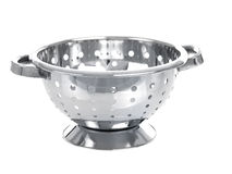 Chrome colander. Isolated on pure white background Royalty Free Stock Image