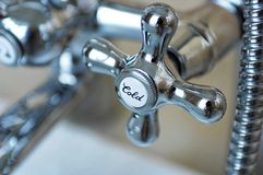chrome cold water tap Royalty Free Stock Images