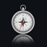 Chrome Compass on black background with reflection Royalty Free Stock Image