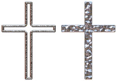 Chrome Crucifixes. Crucifixes with a chrome effect one solid and one hollow on a white isolated background with a clipping path Royalty Free Stock Image
