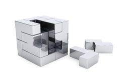 Chrome cube brain teaser game Stock Photo