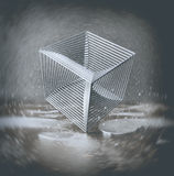 Chrome cube from rods. Standing standing on one corner in an urban environment with rust, reflecting puddles on the floor and a small levitating balls.Abstract Stock Image