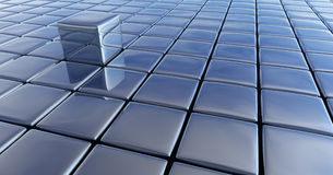 Chrome Cubes. A chrome cube standing out from the rest royalty free illustration