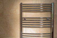 Chrome Curved Towel Radiator Royalty Free Stock Images