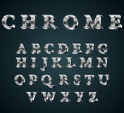 Chrome 3D alphabet. Vector illustration of chrome 3D alphabet. FONT Stock Photo