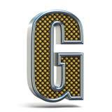 Chrome-3D Brief G van de metaal de sinaasappel gestippelde doopvont Royalty-vrije Stock Afbeelding