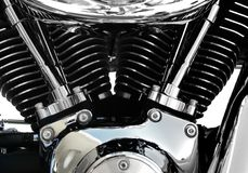 Chrome d'engine de moto Photographie stock libre de droits