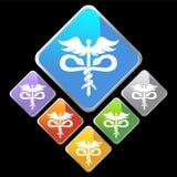 Chrome Diamond Icons - Caduceus Royalty Free Stock Images