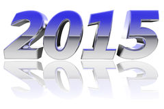 Chrome 2015 digits with color gradient reflections on glossy white Stock Image