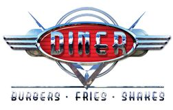 Chrome Diner Sign Vintage Burgers Fries Shakes. Vintage Diner Sign Chrome with Burgers Fries and Shakes in Car Logo Style Design Art royalty free stock image