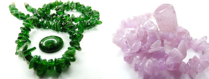 Chrome-diopside gemstone beads necklace jewelery collage Stock Image