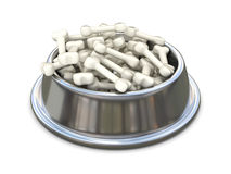 Chrome dog bowl with bones. 3D Stock Photos
