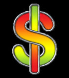 Chrome Dollar Sign with Red to Lime gradient on black. With path Royalty Free Stock Photo