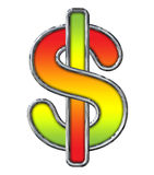 Chrome Dollar Sign with Red to Lime gradient on white. With path Stock Photos