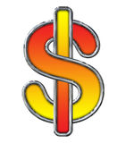 Chrome Dollar Sign with red to yellow gradient on white Stock Photo