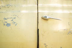 Chrome door handle of old car Royalty Free Stock Image