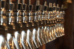 Chrome draft beer taps Stock Image