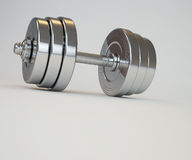 Chrome dumbbell. Dumbbell isolated on the white background with clipping paths Royalty Free Stock Image