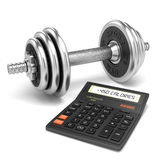 Chrome dumbbell and calculator calories Stock Photos