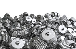 Chrome dumbbell pile Stock Images