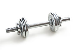 Chrome dumbell Stock Photo