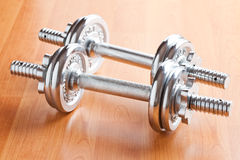 Chrome dumbells Stock Images