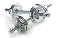 Chrome dumbells Royalty Free Stock Photos