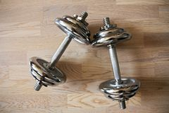 Chrome dumbells Royalty Free Stock Image