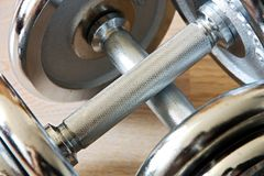 Chrome dumbells Stock Photography