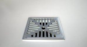 Chrome-Duschboden-Abfluss-Nahaufnahme Stockbilder