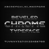 Chrome effect alphabet font. Metal beveled letters numbers and symbols. stock illustration