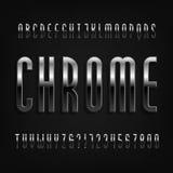 Chrome-Effektalphabetguß Dünne Metallbuchstaben, -zahlen und -symbole vektor abbildung