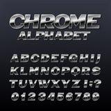 Chrome-Effektalphabetguß Metallzahlen, -symbole und -buchstaben Stockbild