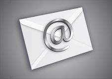 Chrome Email. Email icon over a metalic background vector illustration